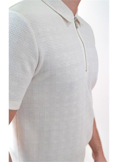 Boris Becker Kısa Kol Polo Yaka Logolu Fermuar Detaylı Erkek Tshirt Ekru